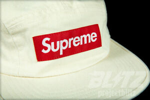 56a1fb1e0 Details about SUPREME WASHED CHINO TWILL CAMP CAP NATURAL SS19 BLACK DENIM  RED BOX LOGO HAT