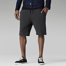 NWT MEN'S G-STAR RAW AYE 1/2 SWEAT PANT SHORTS CASUAL BLACK HEATHER GRAY MED M