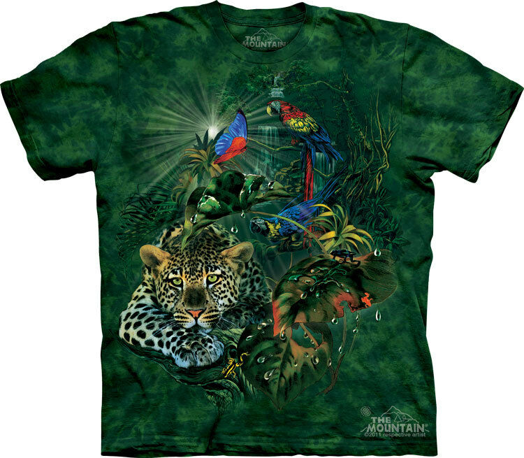 NEW RAINFOREST GATHERING Birds Leopard Cats The Mountain T Shirt Adult Sizes