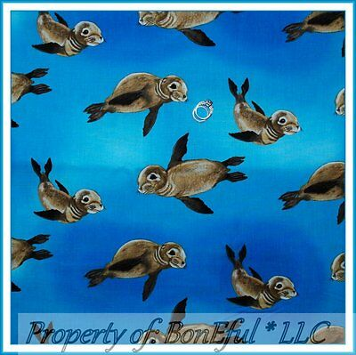 BonEful FABRIC FQ Cotton Quilt Ocean Blue Seal Pup Animal Water Beach Sea World