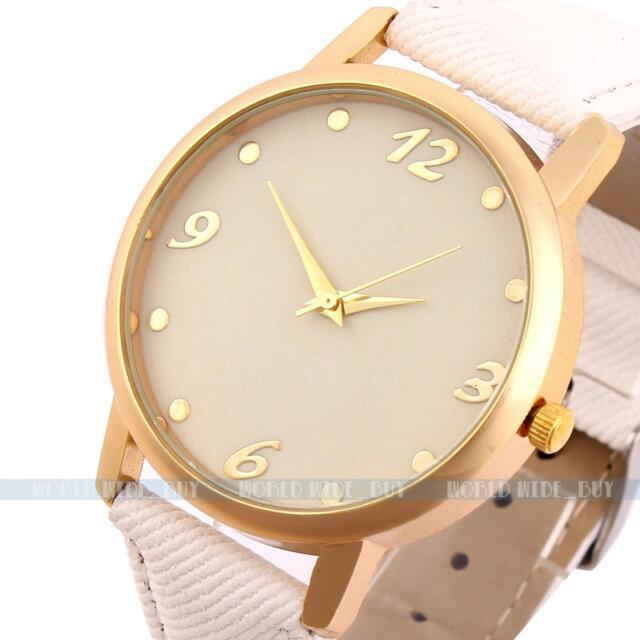 Elegant White Women Lady Leather Band Analog Quartz Sport Wrist Watch
