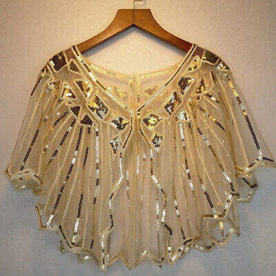 Women/'s 1920s Sequin Shawl Poncho Evening Cape Flapper Bolero Wedding Shirt Wrap