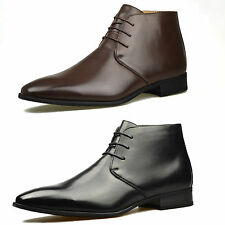 Mens Brown Faux Leather Smart Formal Casual Work Boots Shoes Fashion Designer