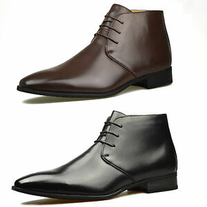 Mens-Brown-Leather-Smart-Formal-Casual-Lace-Up-Boots-Shoes-UK-SIZE-6-7-8-9-10-11