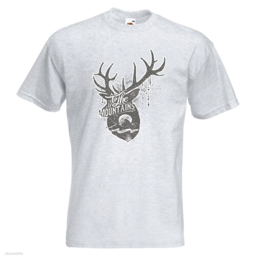 To The Mountains Mens PRINTED T-SHIRT Animal Deer Horns Moon Outdoor Vintage