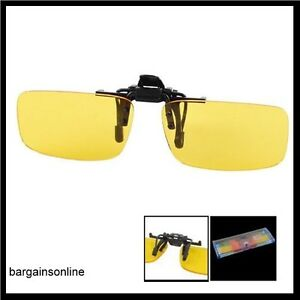 NIGHT-VISION-POLARIZED-DRIVING-GLASSES-CLIP-ON-FLIP-UP-NO-GLARE-YELLOW-TINTS