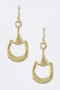 NEW-Horse-Bit-Equestrian-Shiny-Gold-Tone-Earrings-Designer-Inspired