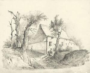 Casa di campagna paesaggio disegno originale a matita for Disegni interni di case