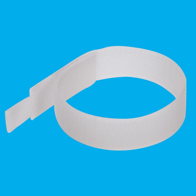 10x Hook & Loop Cable Ties 150mm White Nylon Strap Reusable Wrap Strip Organiser