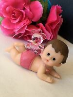 1pc Baby Shower Girl Bear Pink Cake Topper Decorations Figurines Center Pieces