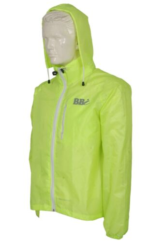 Hi Viz Big & Tall Rain Jacket Waterproof High Visibility Runing Hood Top 3-4 XL