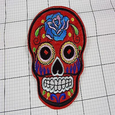 1pcs Embroidered Cloth Iron On Patch Sew Motif Applique skull F8