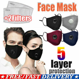 Face Mask With 2 Filters Washable Reusable Activated Carbon respirator Cotton