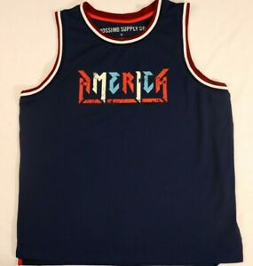 beded8e294b00 America Jersey Tank Top shirt XL Blue Mossimo Supply Co Sport 100 ...