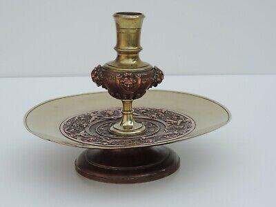 Nett Alte Schale KerzenstÄnder Bronze Kupfer Medusa Mascaron Putos French Antik 19jh