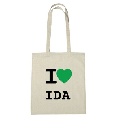 Jutebeutel Ökotasche Umwelttasche Farbe: natur I love IDA