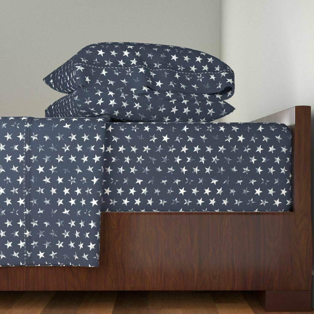 Distressed Stars American 4Th Of July 100% baumwolle Sateen Sheet Set by Roostery
