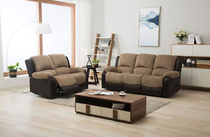 Details About New Marsha Fabric Reclining Sofa Set Brown And Beige 3 2 Recliner Sofa Suite