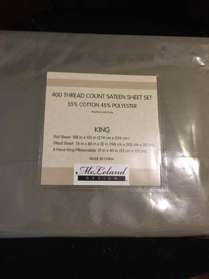 McLeLand 400TC king sheet set design