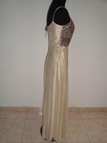 Vestito Color Bustino Lungo Leopardato E Tg Oro S Lino Abito Lurex 40 qTZCwq1
