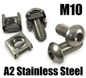 M10 A2 Stainless Steel Cage Nuts Clip Nuts Server Rack Mount Cabinet PC Fixing