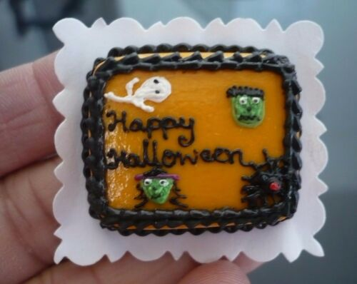 Dollhouse Miniatures Clay Halloween Pumpkin Sheet Cake Fancy Night Festival -8
