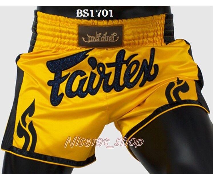 NEW FAIRTEX BOXING SHORTS BS1701 YELLOW SLIM CUT SATIN GENUINE MMA MUAY THAI