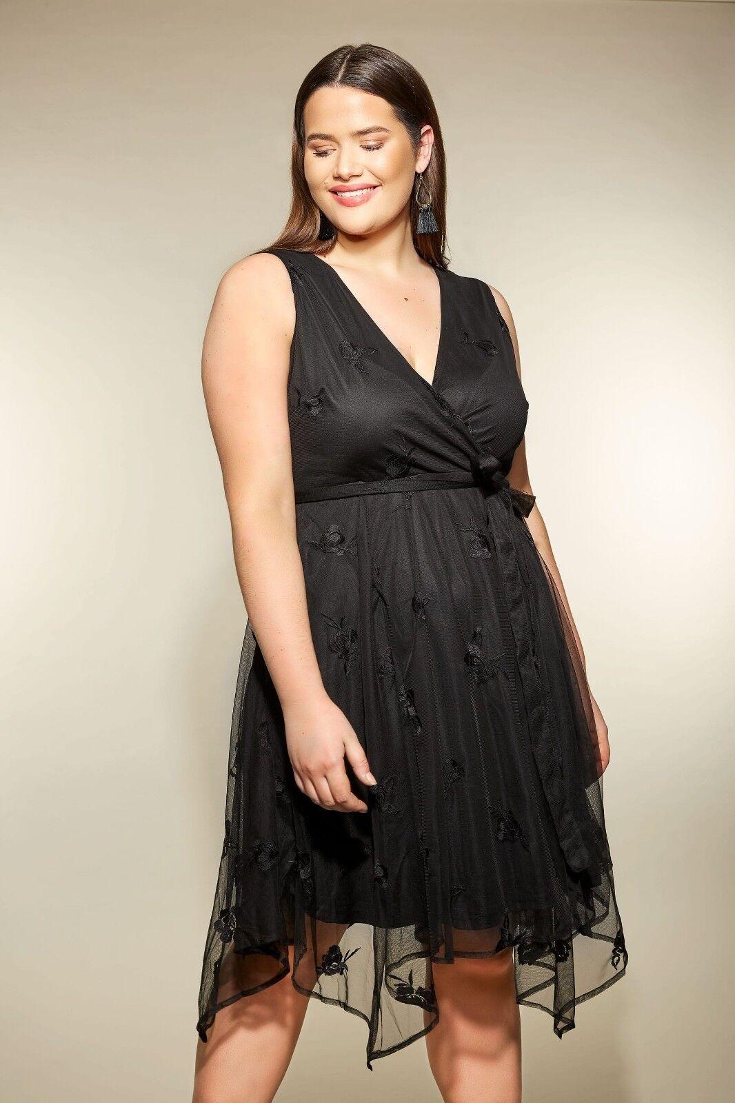 Kleid Gr.52+54 56 Abendkleid schwarz Damen Mesh festlich Stickerei Knielang Zipf