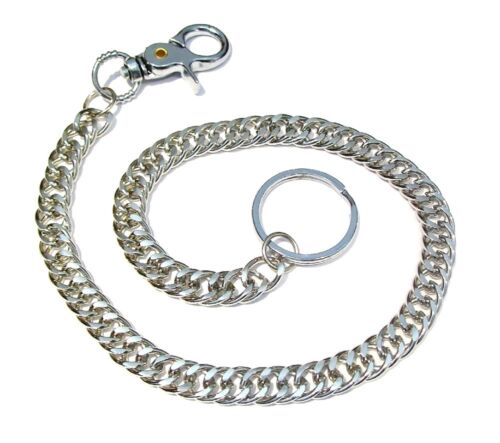 Silver Long Strong Metal Hipster Key Wallet Belt Ring Clip Bike Chain Keychain