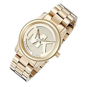 Details zu Neu Michael Kors MK5786 Damen Runway Gold Tone MK Zifferblatt Chronograph Uhr