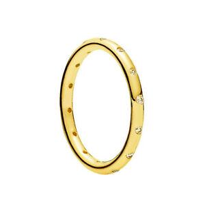 Genuine-Pandora-Sparkling-Droplets-Ring-Sterling-Silver-14K-Gold-Plated-190945CZ
