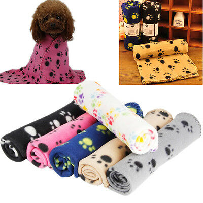 HOT Pet Warm Paw Print Dog Puppy Cat Pig Fleece Soft Blanket Beds Mat OWAU