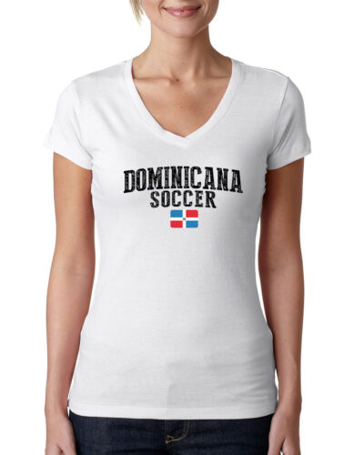 Dominicana Soccer T shirts  Women/'s V neck 100/% cotton Lady women tee  Any Sport