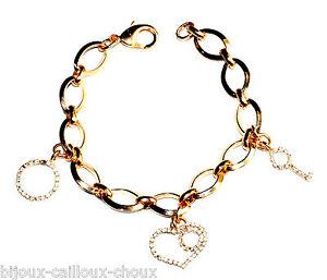 Bracelet-a-breloques-couleur-or-cristal-blanc-coeur-cle-rond-bijou