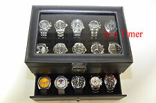 20-watch Glass Top Black Faux Leather Display Case Box + Free Polishing Cloth