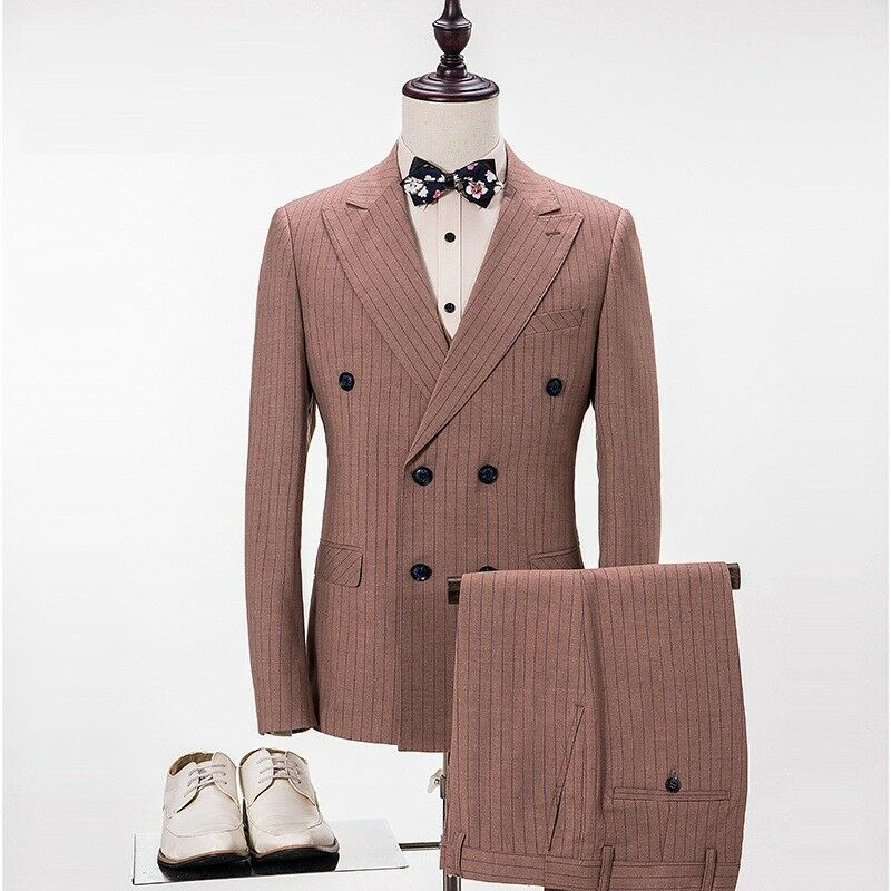 Men 3 Piece Brown With Navy bluee Strip Wedding Groom Tuxedos Bridegroom Suit