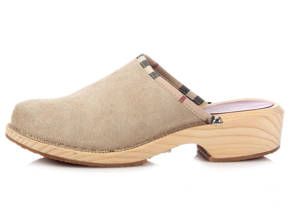 BURBERRY Beige Tan Suede Wooden Clogs Mules Size 38 8 ~ Super comfy!
