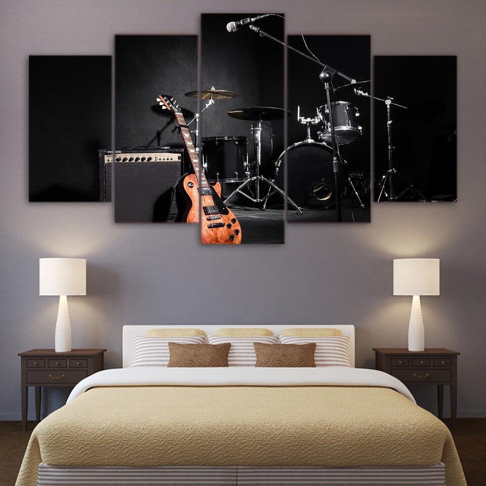 Musical Instruments Guitar Drum 5 Panel Canvas Print Wall Art