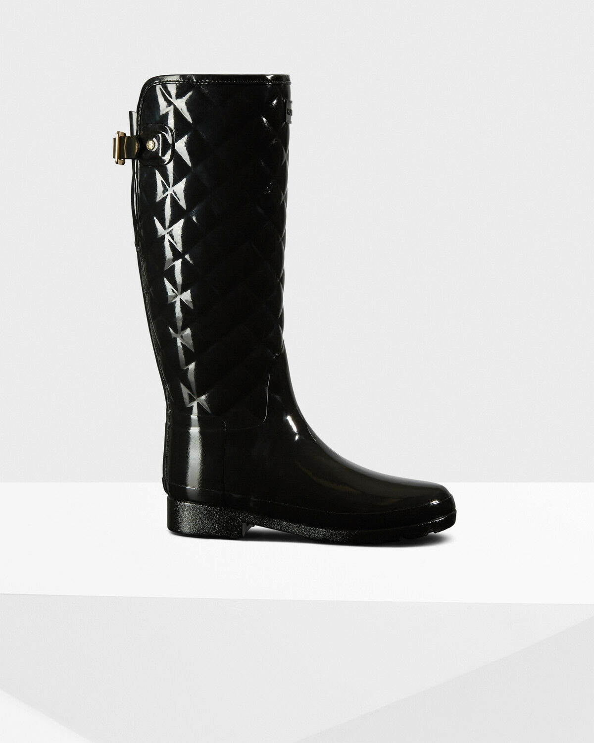 HUNTER REFINED BLACK QUILTED GLOSS RAIN BOOTS WOMEN STYLE WFT1031RGL