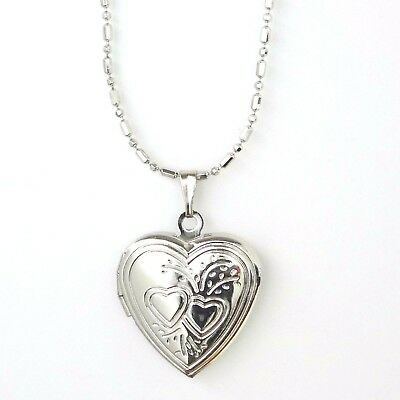 16 Inch Silver Plated Necklace & Pendant Heart Photo Locket