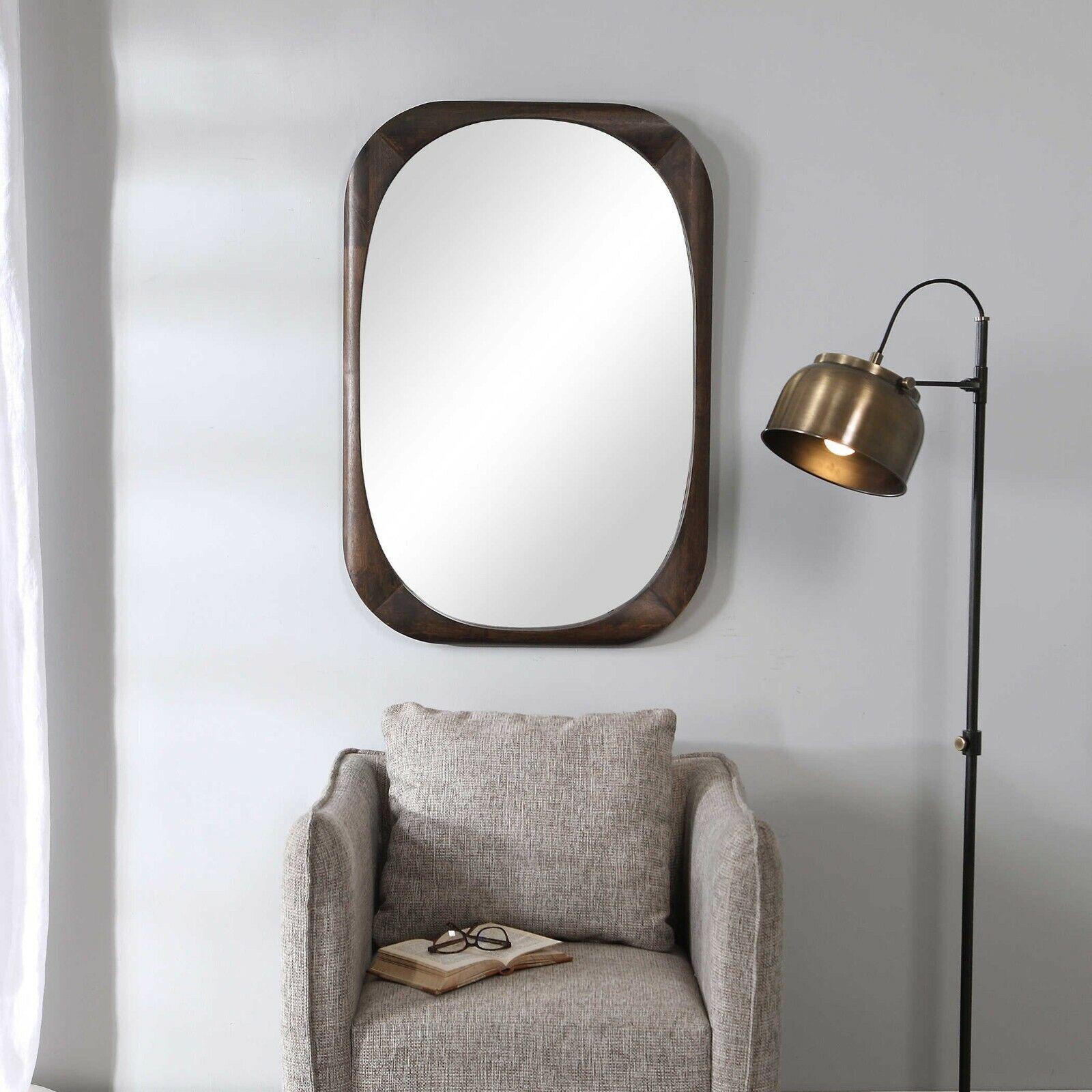 Sheldon Mission Mid Century Modern Wood Xxl 38 Wall Vanity Mirror Uttermost