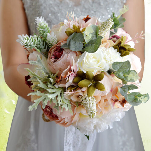 Rose Butterfly Flowers Bouquet Wedding Bride Bridesmaid Flower Wand AM5X