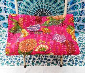 kantha-Quilt-Fruit-Indian-Cotton-Handmade-Bedspread-Twin-Size-Gudari-Pink