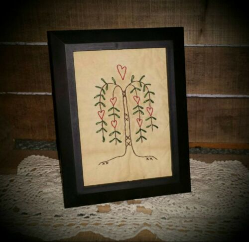 UNFRAMED Handmade Hearts in the Willow 5x7 Primitive Stitchery