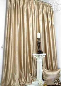 vorh nge 1 satin fertig vorhang beige schwerer hochwertiger satin blickdicht ebay. Black Bedroom Furniture Sets. Home Design Ideas