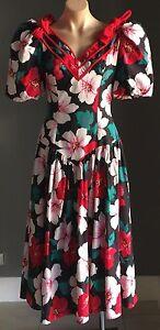 VINTAGE-1980-039-s-DAVID-MITCHELL-Bright-Floral-Print-Drop-Waist-Dress-Size-9-10