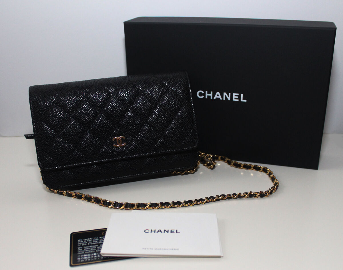 38f97226a6582d NEW CHANEL CC Quilted Wallet on a Chain Caviar WOC Black 100 % Authentic |  eBay