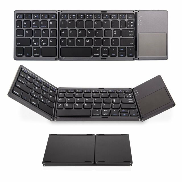 c27df452d93 Bluetooth Keyboard with Touchpad, Jelly Comb Foldable Tri-fold Triple  Wireless