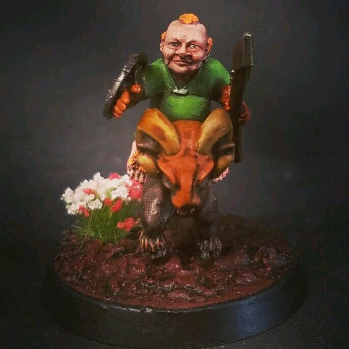 Painted Mounted Halfling Ram Resin Miniature D&D Pathfinder Fantasy RPG