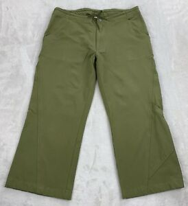 Prana Green Cropped Yoga Pants Drawstring Zipper Side Knee Pocket Stretch Size M Ebay